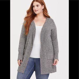 torrid Sweaters - TORRID Grey Marl Hooded Open Front Coat
